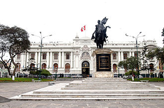 Congress of the Republic of Peru - The Legislative Palace. In front of it, the famous Tadolini's Simon Bolivar statue in the Plaza Bolívar.