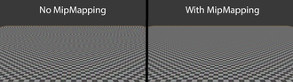 Mipmap - Image showing how mipmaps reduce aliasing at large distances. Note the moire pattern on the left image.
