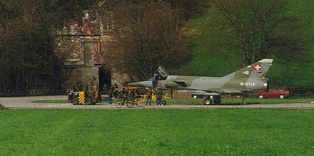 A Mirage IIIRS in front of an aircraft cavern in Buochs airfield, Switzerland