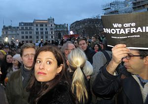 Miriam González Durántez - González Durántez attends the Je suis Charlie rally in Trafalgar Square, January 2015