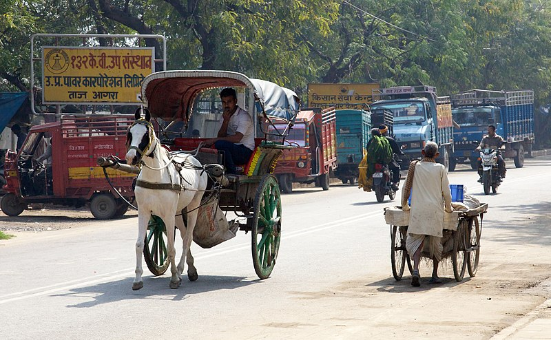 Different modes of road transport, on a road in India.