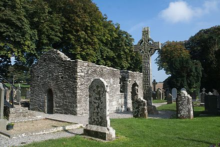 The ruins of Monasterboice in County Louth are of early Christian settlements. Monasterboice North Church and West Cross West Face 2013 09 27.jpg