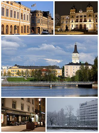 Oulu - Top: Rantakatu in downtown Oulu, Oulu City Hall Middle: Lyseo Upper Secondary School and the Oulu Cathedral Bottom: Shops along Kirkkokatu, Radisson Blu Hotel along Ojakatu