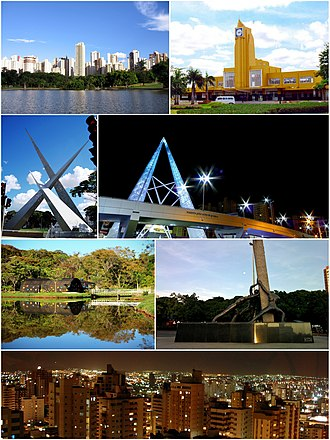 Goiânia - Top left:Vaca Brava Park and St Bueno area, Top right:Memorial site of Goiânia Train Station in Estacao Park, 2nd left:Monument of Tres Marcos in Latif Sebba Square, 2nd right:Night view of Joao Alaves Queiroz Viaduct, 3rd left:Goiânia Botanical Garden, 3rd right:Monument of Tres Racas in Goiânia Civic Square, Bottom:Night view of downtown Goiânia