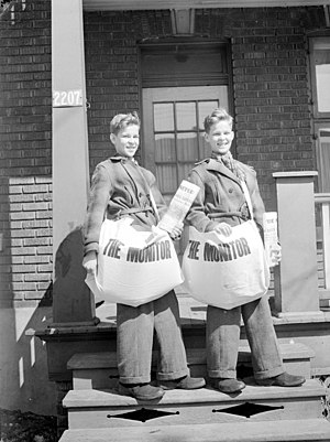 "Two newspaper carriers for ""The Monitor&q..."