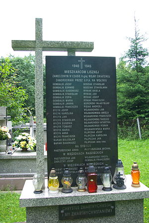 Ukrainian Insurgent Army - Monument to Poles killed by UPA, Liszna, Poland
