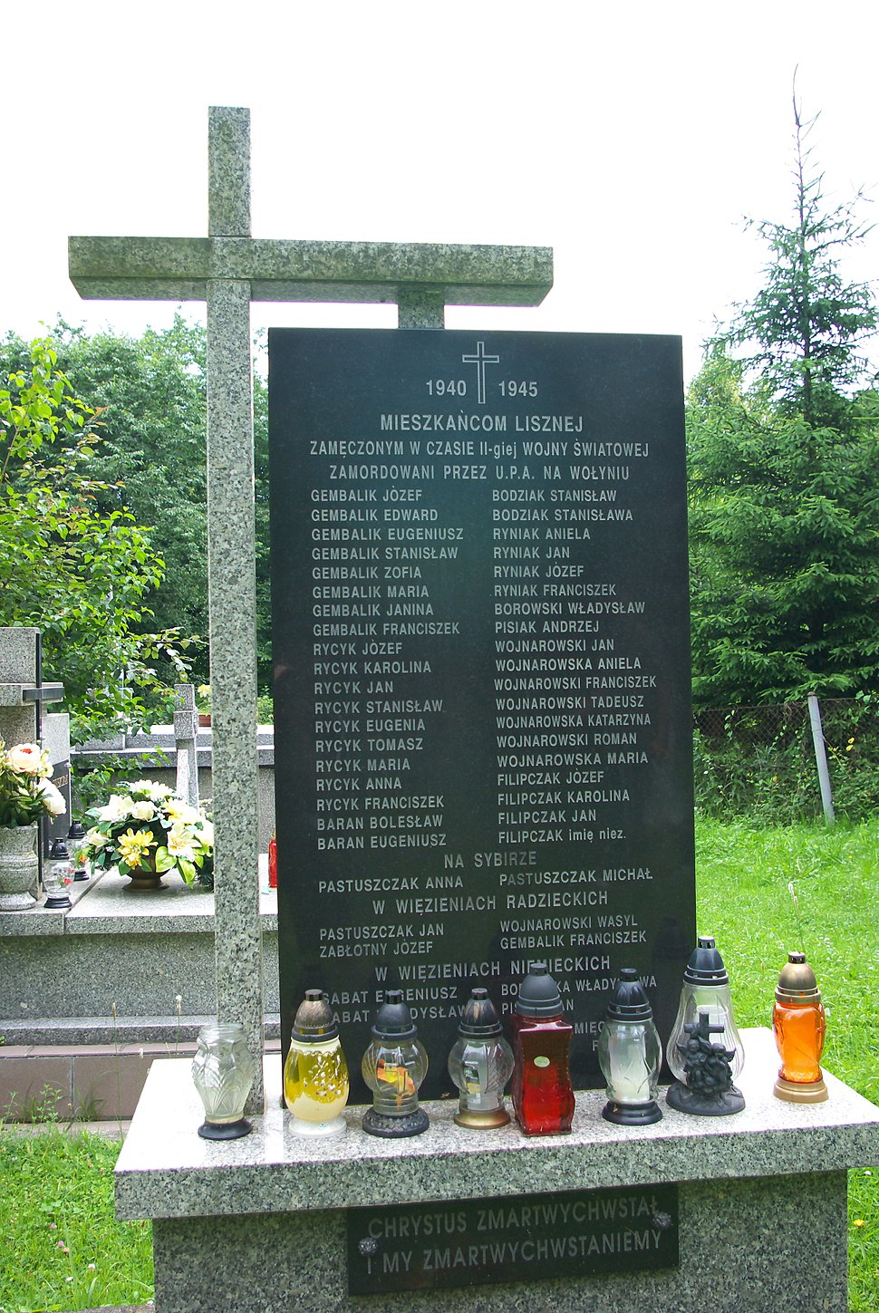 Monument to vitims of Volhynia massacre 1940-1945 at cemetery in Liszna plaque