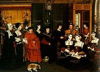 Arriba, boceto de un retrato familiar de Tomás Moro (ca. 1527), realizado porHans Holbein el Joven. El astrónomoNicolás Kratzer, amigo de Holbein y tutor de los hijos de Moro, añadió los nombres y edades de los miembros de la familia en tinta marrón. Abajo,Tomás Moro y su familia(1592), obra de Rowland Lockey que sigue el boceto de Hans Holbein.
