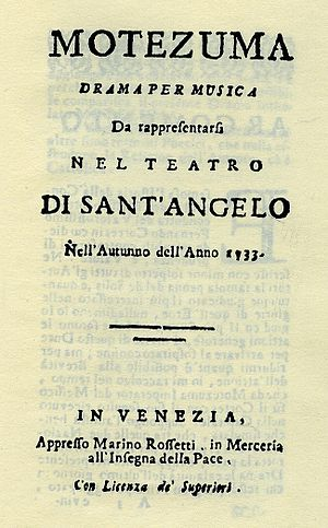 Motezuma - Title page of the libretto printed for the Venice premiere in 1733