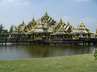 """Ancient Siam - A Botanical Garden from Thai Literature, cluster of pavillons around a garden with plants mentioned in Thai literature, Mueang Boran (""""Ancient City"""")"""