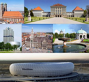 จากซ้ายไปขวา:The Munich Frauenkirche, the Nymphenburg Palace, the BMW Headquarters, the New Town Hall, the Munich Hofgarten and the Allianz Arena.