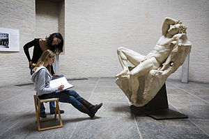 Drawing - A person drawing the Barberini Faun in Munich