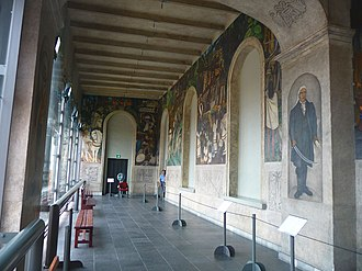 History of Morelos, Conquest and Revolution - View of the corridor inside Palace of Cortés with Rivera's Conquest of Mexico, History of Cuernavaca and Morelos.