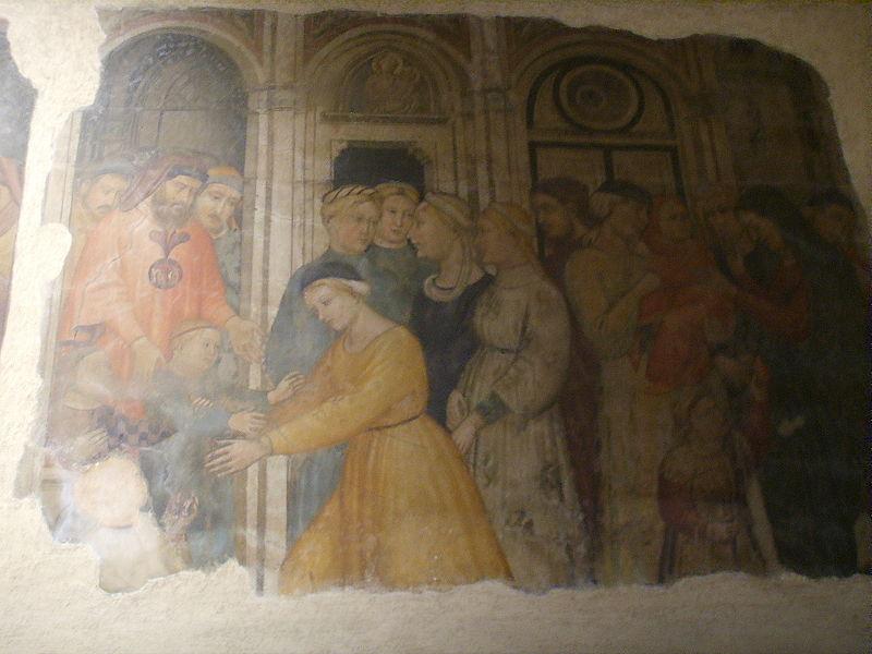 Ficheiro:Museo del Bigallo, Niccolò di Pietro Gerini e Ambrogio di Baldese, ai fratelli del bigallo affidano gli orfani alle madri adottive (1386).JPG