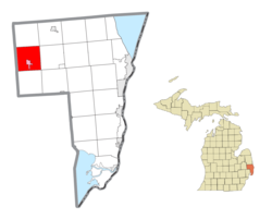 Location within St. Clair County (red) and the administered village of Capac (pink)