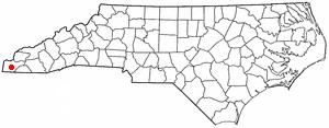 Murphy, North Carolina - Image: NC Map doton Murphy