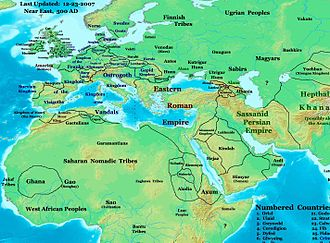 Byzantine–Sasanian wars - Roman and Persian Empires in 500 AD, also showing their neighbors, many of whom were dragged into wars between the great powers.