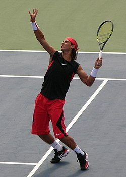 Nadal preparing to hit an overhead at the 2006 US Open.