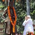 Narendra Modi salutes a statue of Madan Mohan Malaviya in Varanasi.jpg