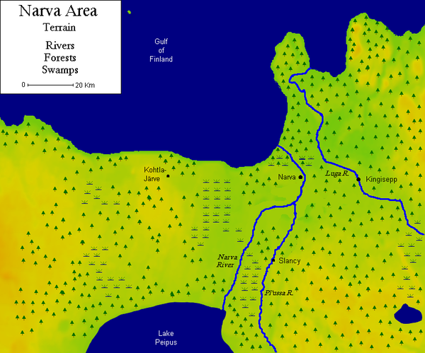The terrain of the Narva Isthmus is dominated by water and forests. Narva terrain.png