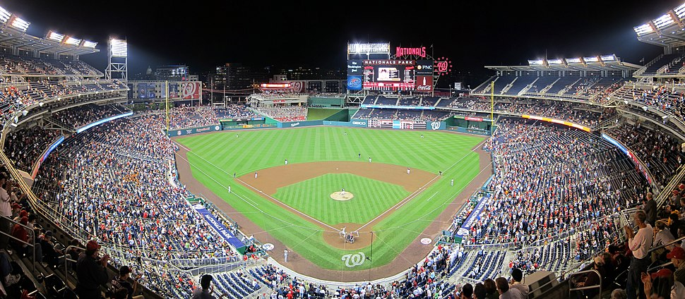 Panoramic image of Nationals Park during a home game against the San Francisco Giants, May 2, 2011.
