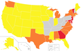 Native American tribal recognition by state.png