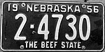 Nebraska license plate 1956 from the private collection of Jim Smith.jpg