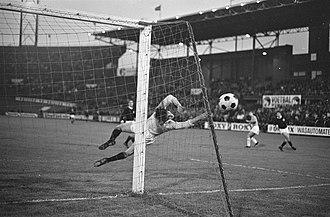 Bobby Clark (footballer) - Bobby Clark dives to save a shot in an international football match between Scotland and Netherlands, 30 May 1968.