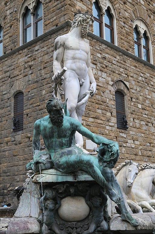 Fontana del Nettuno, (fontana del biancone), Triton, divinità marina maschile del Giambologna, Piazza della Signoria, Firenz