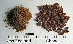 Milo (drink) - Milo differs among regions, as is seen in this side-by-side comparison of Milo from New Zealand and Ghana.