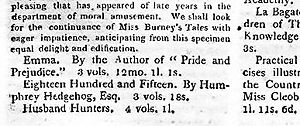 "Snippet from magazine which reads ""Emma. By the author of 'Pride of Prejudice'. 3 vols. 12 mo. 1l. 1s."""