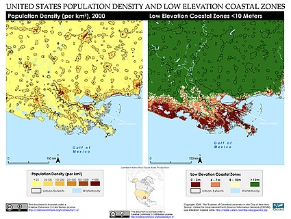 Population density and low elevation coastal zones in the Mississippi River Delta. The Mississippi River Delta is especially vulnerable to sea level rise. New Orleans, Louisiana, United States of America Population Density and Low Elevation Coastal Zones (5457913950).jpg