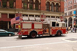 Firehouse, Engine Company 33 and Ladder Company 9 - Engine 33 on Broadway near the station on Great Jones Street