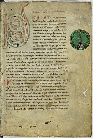 Nibelungenlied - First page from Manuscript C (ca. 1230)