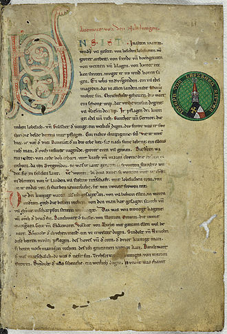 Middle High German - Image: Nibelungenlied manuscript c f 1r