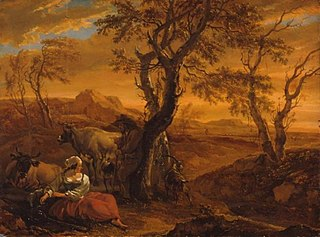 Seated Shepherdess with Herd by Evening