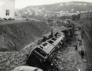 Nidareid train disaster - Photo of the train accident at Nidareid 1921