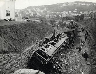 Nidareid train disaster - Photo of the train accident at Nidareid 1921