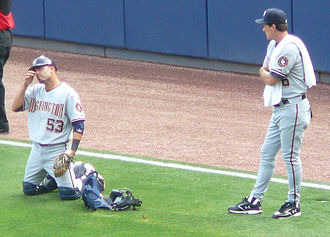 Randy St. Claire - St. Claire (right) with Nationals catcher Wil Nieves in 2008.