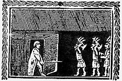 A woodcut of an older man in traditional sleeping clothes and nightcap confronting armed natives within his home