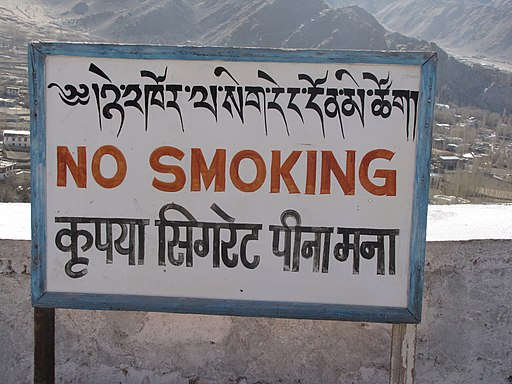 No smoking sign at the Shanti Stupa (Friar's Balsam Flickr)