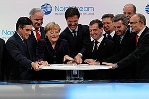Nord Stream - Nord Stream opening ceremony on 8 November 2011 with Angela Merkel, Dmitry Medvedev, Mark Rutte and François Fillon.