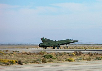 Saab 35 Draken - Ex-RDAF RF-35XD N217FR operated by the National Test Pilot School takes off from the Mojave Spaceport.