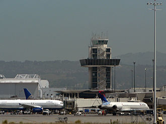 Oakland International Airport - Former South Air Traffic Control Tower above Oakland International Airport's Terminal 1