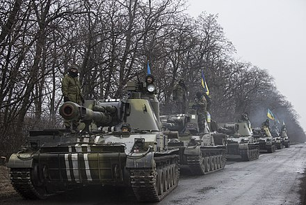 Withdrawal of Ukrainian heavy weaponry, March 2015 OSCE SMM monitoring the movement of heavy weaponry in eastern Ukraine (16544235410).jpg