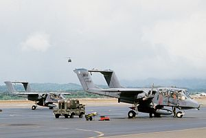 22d Tactical Air Support Training Squadron - Right front view of two OV-10 Bronco aircraft from the 22nd Tactical Air Support Squadron, Wheeler Field, Hawaii, as pre-flight operations take place during Exercise Opportune Journey 84.