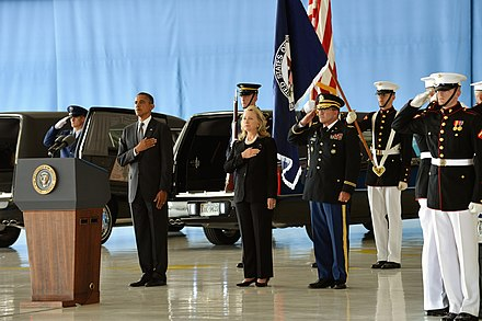 President Obama and Secretary Clinton honor the Benghazi attack victims at the Transfer of Remains Ceremony held at Andrews Air Force Base on September 14, 2012. Obama and Clinton at Transfer of Remains Ceremony for Benghazi attack victims Sep 14, 2012.jpg