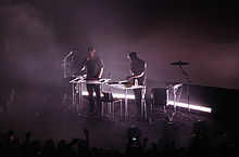 Odesza performing at the Arlington Theater in April 2015