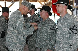 Combat Aviation Brigade, 1st Cavalry Division - LTG Ray Odierno presents Distinguished Flying Crosses to soldiers of the division in Iraq.