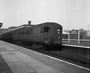 Watford DC line - An ''Oerlikon'' electric train at Harrow and Wealdstone (1956)
